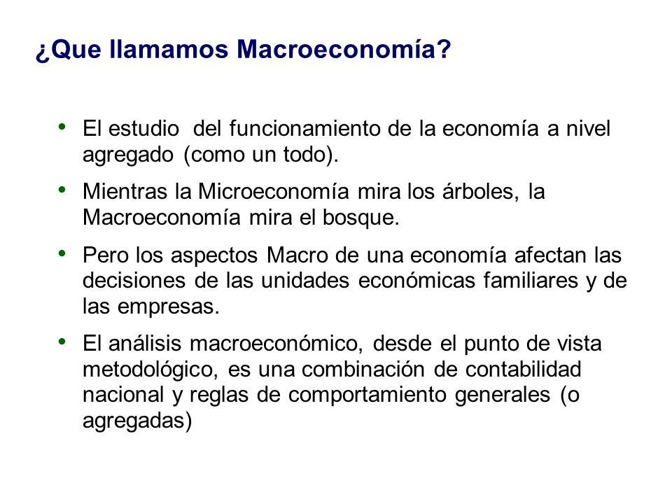 ¿Que llamamos Macroeconomía? El estudio del funcionamiento de la economía a nivel agregado (como un todo). Mientras la Microeconomía mira los árboles,