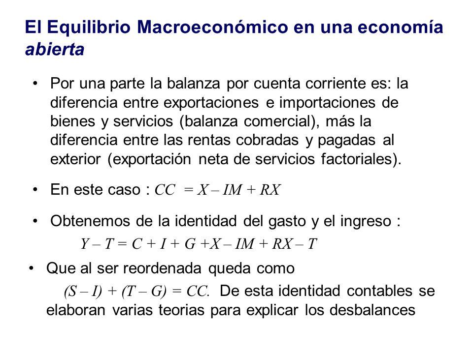 El Equilibrio Macroeconómico en una economía abierta Por una parte la balanza por cuenta corriente es: la diferencia entre exportaciones e importacion