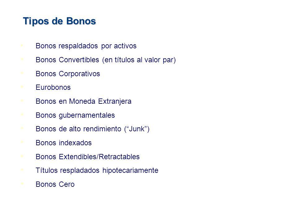 Bonos respaldados por activos Bonos Convertibles (en títulos al valor par) Bonos Corporativos Eurobonos Bonos en Moneda Extranjera Bonos gubernamental