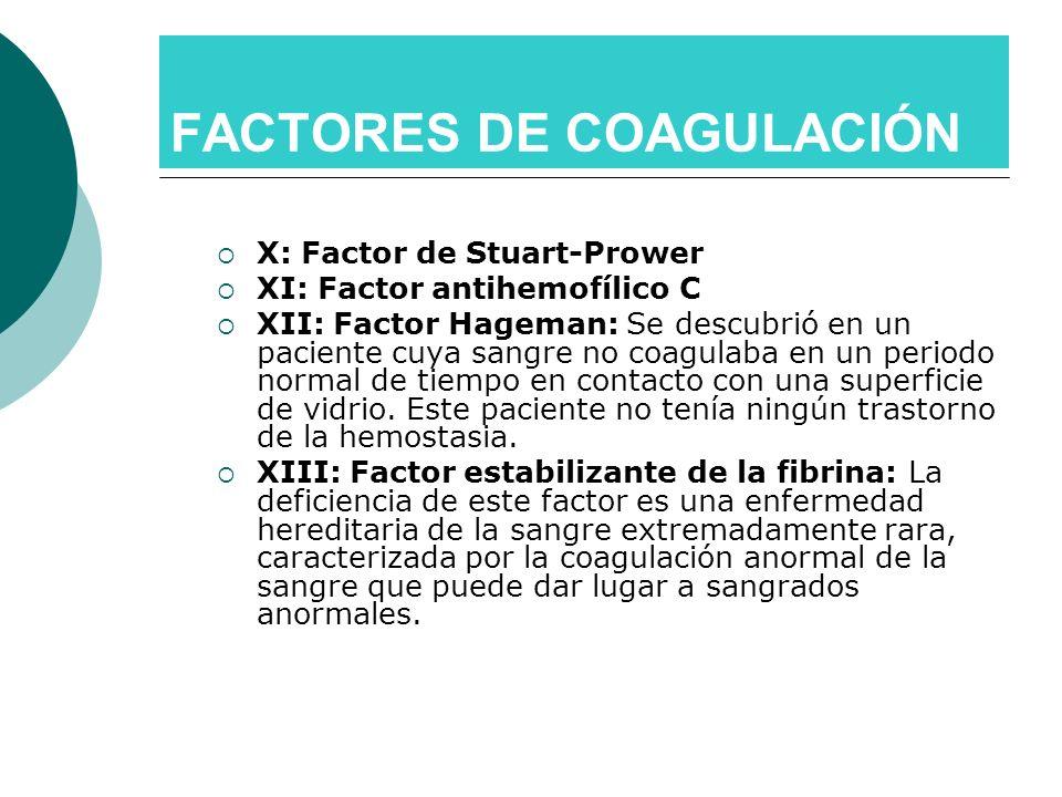 X: Factor de Stuart-Prower XI: Factor antihemofílico C XII: Factor Hageman: Se descubrió en un paciente cuya sangre no coagulaba en un periodo normal