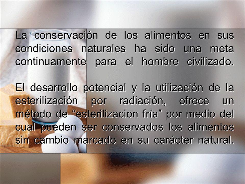 La conservación de los alimentos en sus condiciones naturales ha sido una meta continuamente para el hombre civilizado. El desarrollo potencial y la u