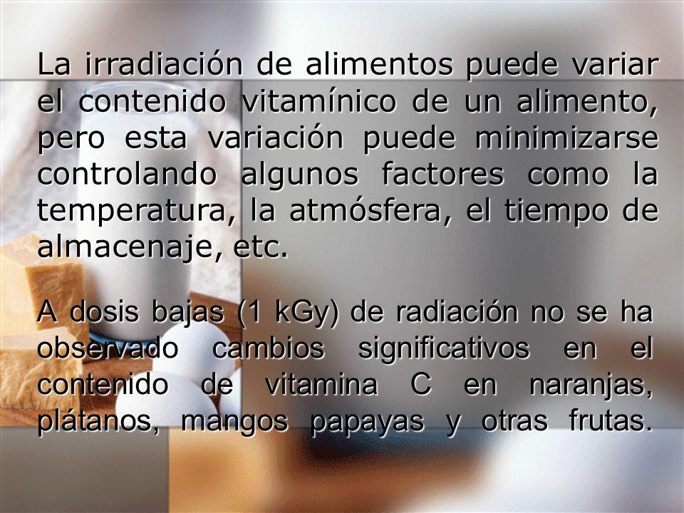 A dosis bajas (1 kGy) de radiación no se ha observado cambios significativos en el contenido de vitamina C en naranjas, plátanos, mangos papayas y otr