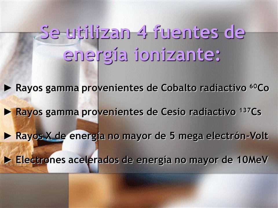 Se utilizan 4 fuentes de energía ionizante: Se utilizan 4 fuentes de energía ionizante: Rayos gamma provenientes de Cobalto radiactivo 60 Co Rayos gam