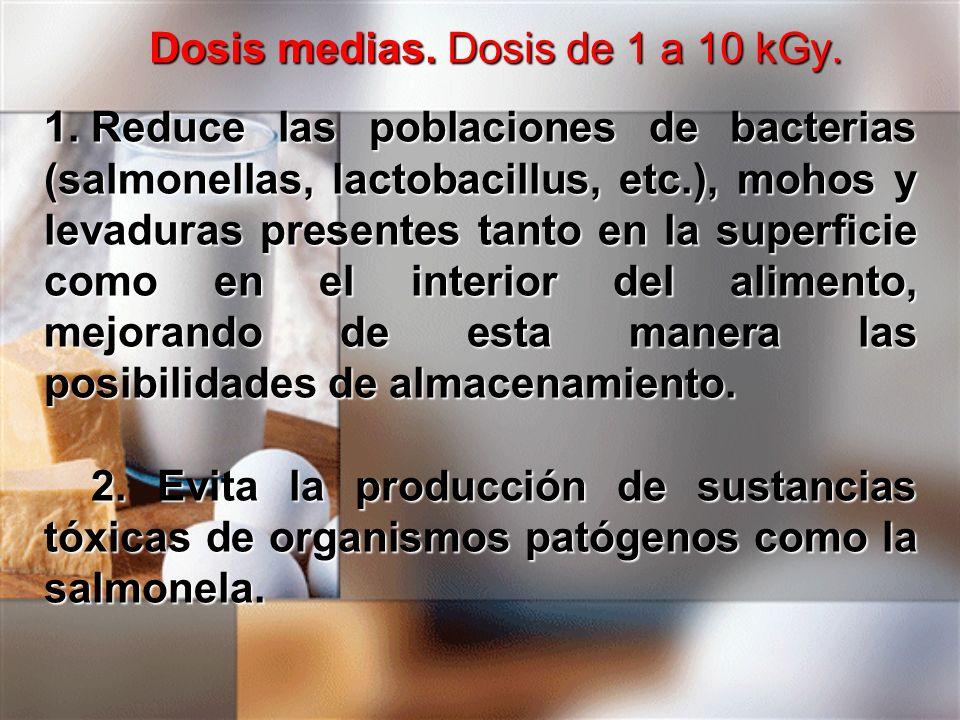 Dosis medias. Dosis de 1 a 10 kGy. 1.Reduce las poblaciones de bacterias (salmonellas, lactobacillus, etc.), mohos y levaduras presentes tanto en la s