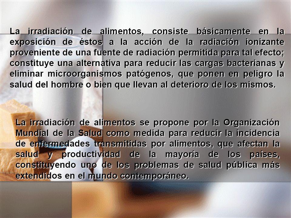 La irradiación de alimentos, consiste básicamente en la exposición de éstos a la acción de la radiación ionizante proveniente de una fuente de radiaci