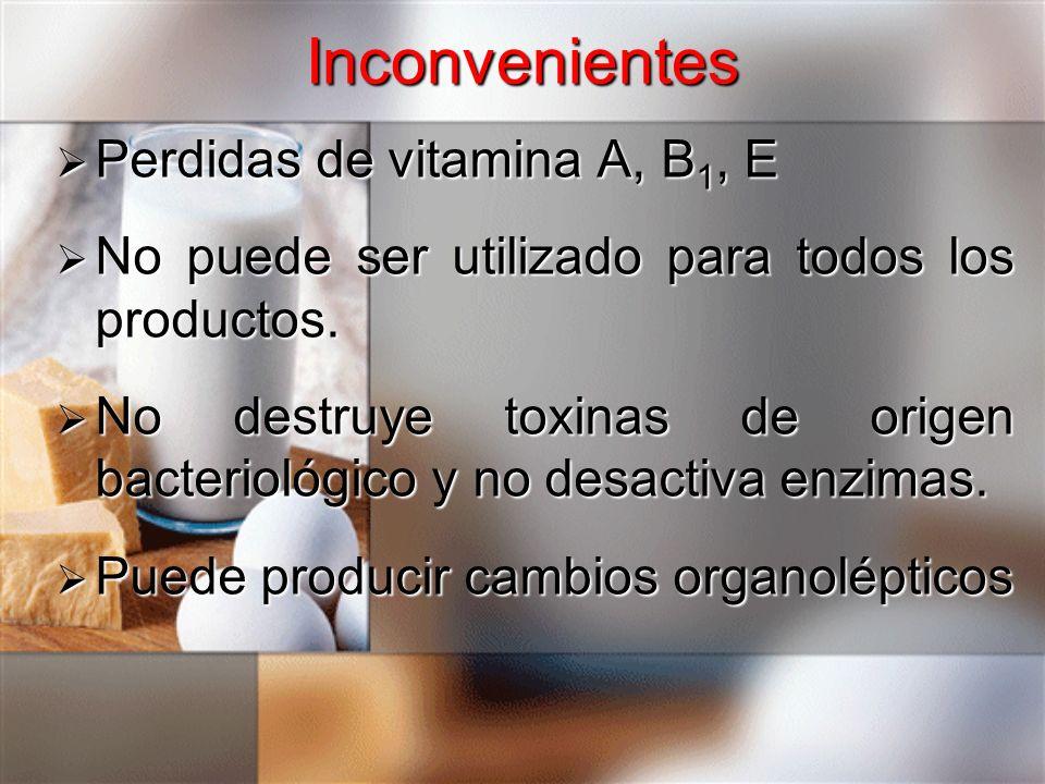 Perdidas de vitamina A, B 1, E Perdidas de vitamina A, B 1, E No puede ser utilizado para todos los productos. No puede ser utilizado para todos los p