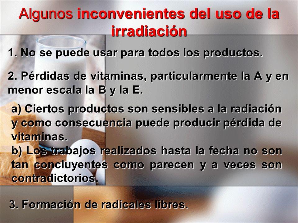 Algunos inconvenientes del uso de la irradiación 1. No se puede usar para todos los productos. 2. Pérdidas de vitaminas, particularmente la A y en men