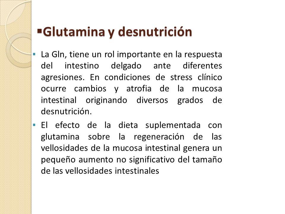 Glutamina y desnutrición Glutamina y desnutrición La Gln, tiene un rol importante en la respuesta del intestino delgado ante diferentes agresiones. En