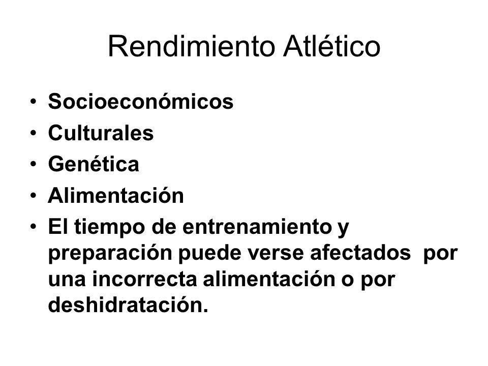 Rendimiento Atlético Socioeconómicos Culturales Genética Alimentación El tiempo de entrenamiento y preparación puede verse afectados por una incorrect