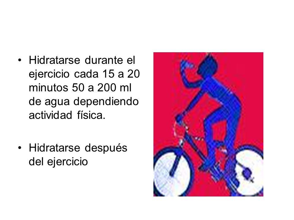 Hidratarse durante el ejercicio cada 15 a 20 minutos 50 a 200 ml de agua dependiendo actividad física. Hidratarse después del ejercicio