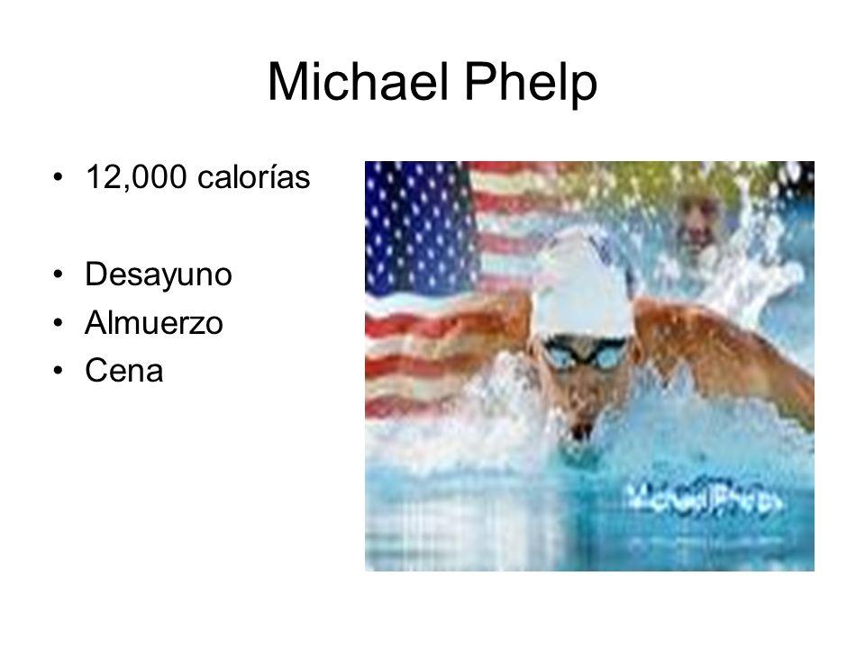 Michael Phelp 12,000 calorías Desayuno Almuerzo Cena