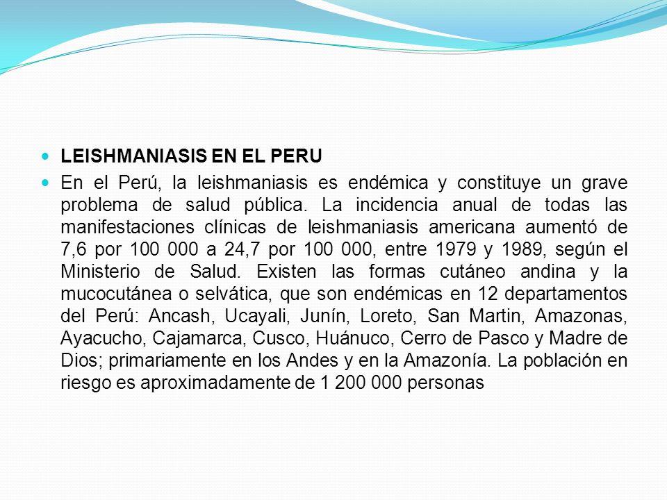 LEISHMANIASIS EN EL PERU En el Perú, la leishmaniasis es endémica y constituye un grave problema de salud pública. La incidencia anual de todas las ma