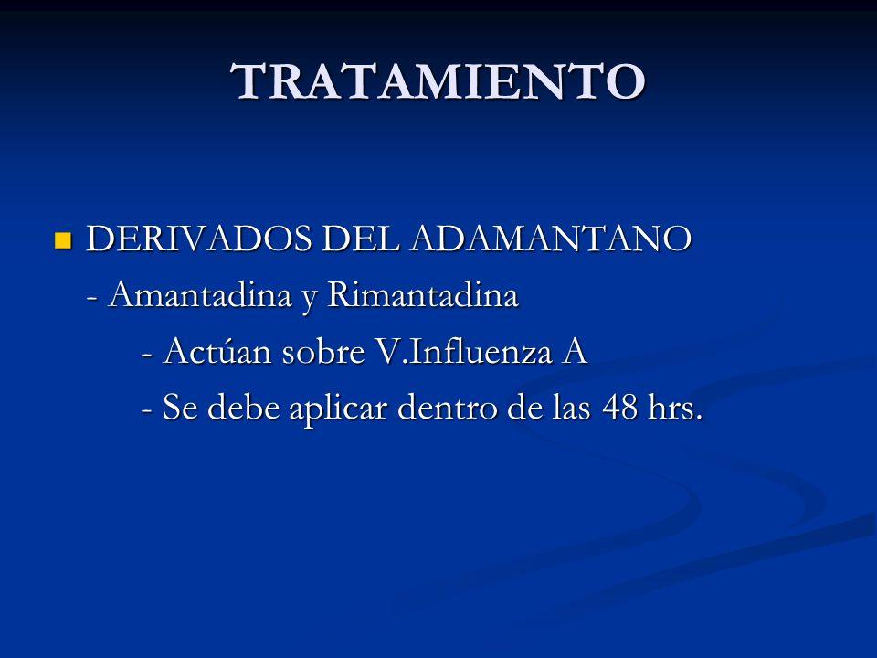 TRATAMIENTO DERIVADOS DEL ADAMANTANO DERIVADOS DEL ADAMANTANO - Amantadina y Rimantadina - Actúan sobre V.Influenza A - Se debe aplicar dentro de las