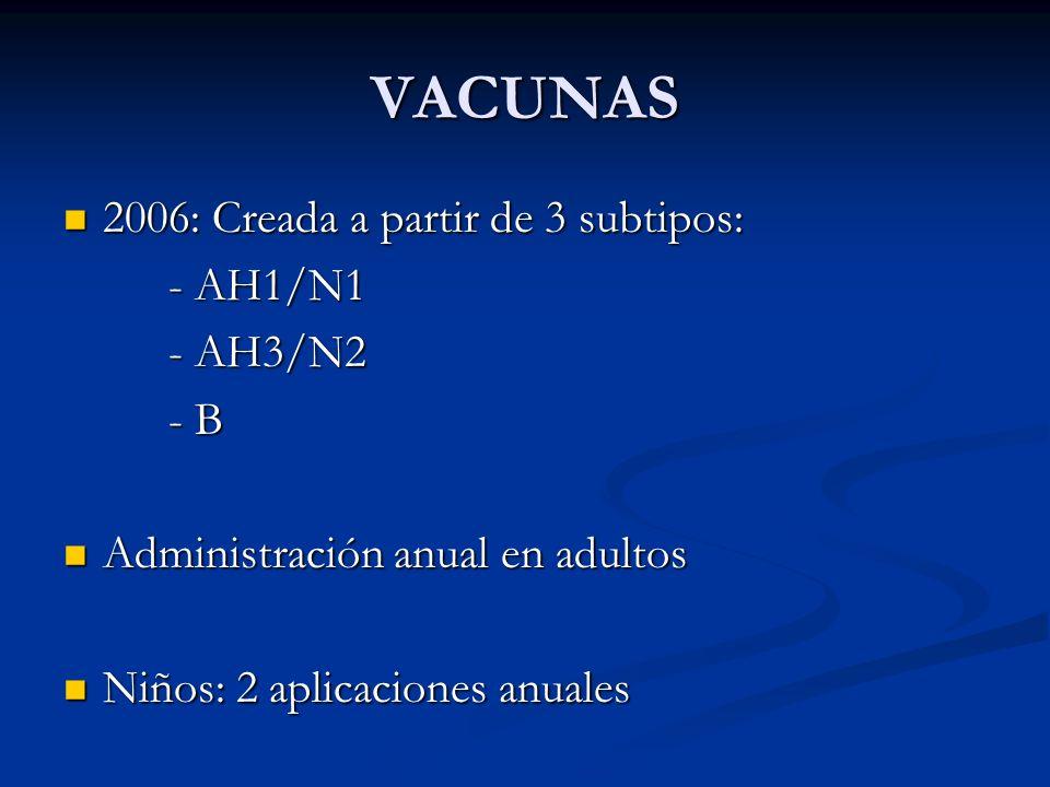 VACUNAS 2006: Creada a partir de 3 subtipos: 2006: Creada a partir de 3 subtipos: - AH1/N1 - AH3/N2 - B Administración anual en adultos Administración
