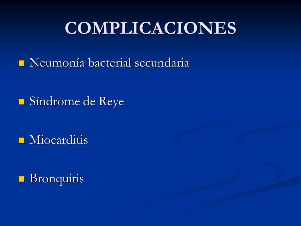 COMPLICACIONES Neumonía bacterial secundaria Neumonía bacterial secundaria Síndrome de Reye Síndrome de Reye Miocarditis Miocarditis Bronquitis Bronqu