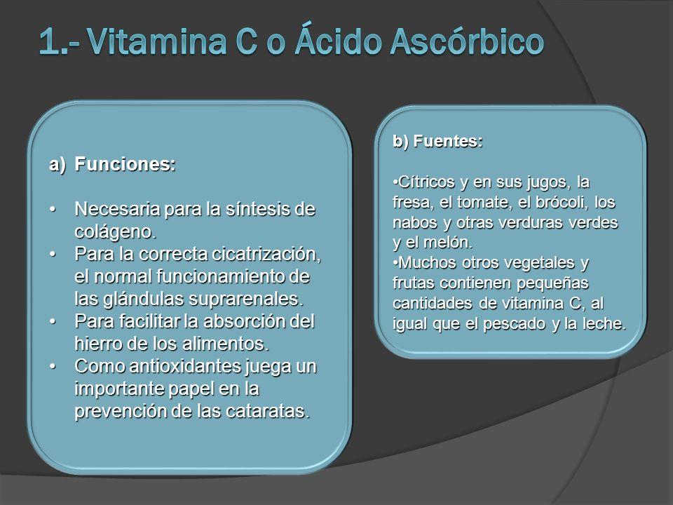 a)Funciones: Necesaria para la síntesis de colágeno.Necesaria para la síntesis de colágeno. Para la correcta cicatrización, el normal funcionamiento d