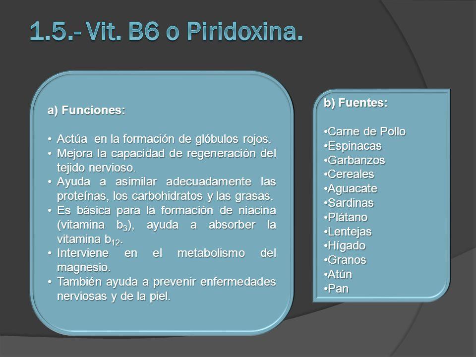 a) Funciones: Actúa en la formación de glóbulos rojos.Actúa en la formación de glóbulos rojos. Mejora la capacidad de regeneración del tejido nervioso