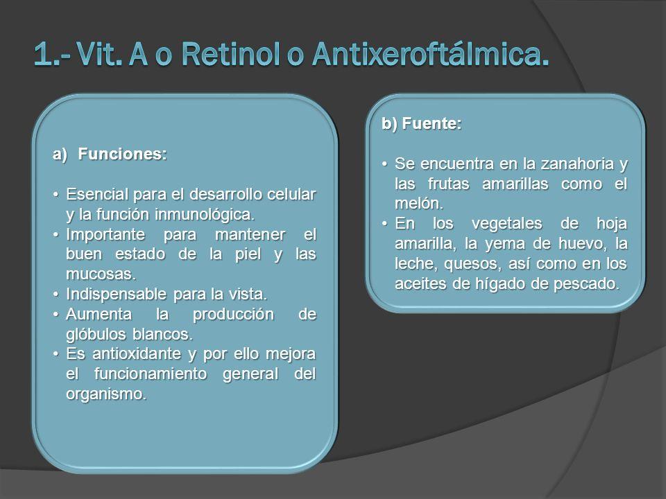 a)Funciones: Esencial para el desarrollo celular y la función inmunológica.Esencial para el desarrollo celular y la función inmunológica. Importante p