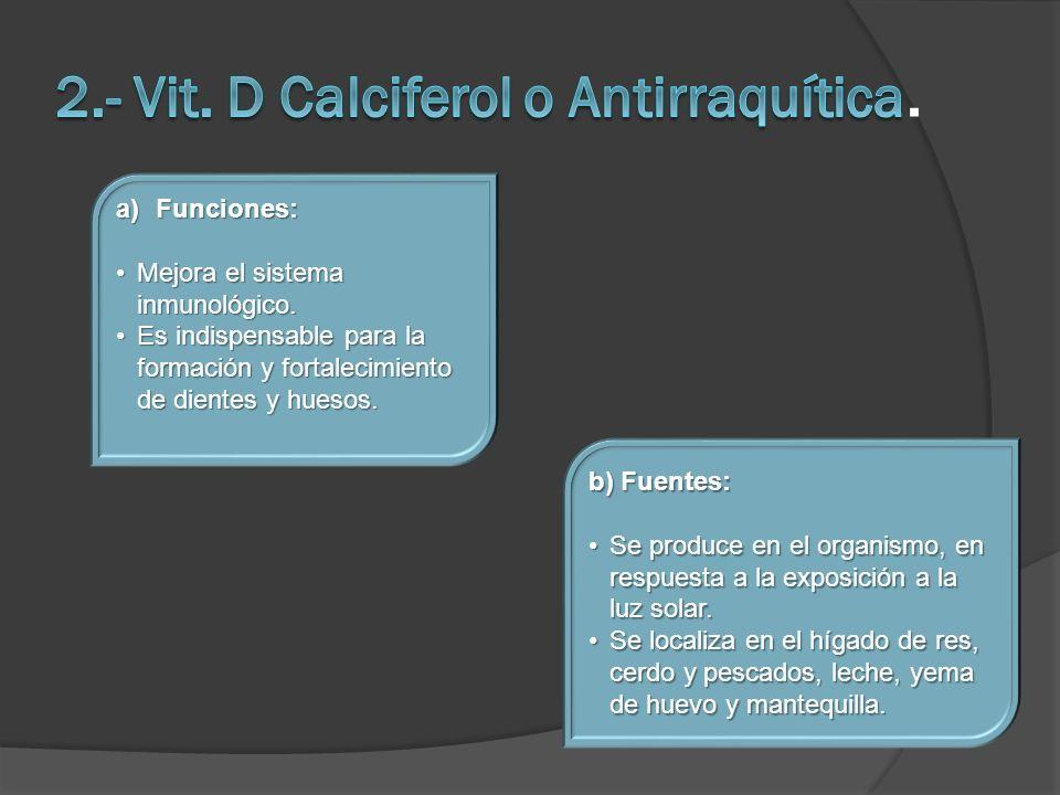 a)Funciones: Mejora el sistema inmunológico.Mejora el sistema inmunológico. Es indispensable para la formación y fortalecimiento de dientes y huesos.E