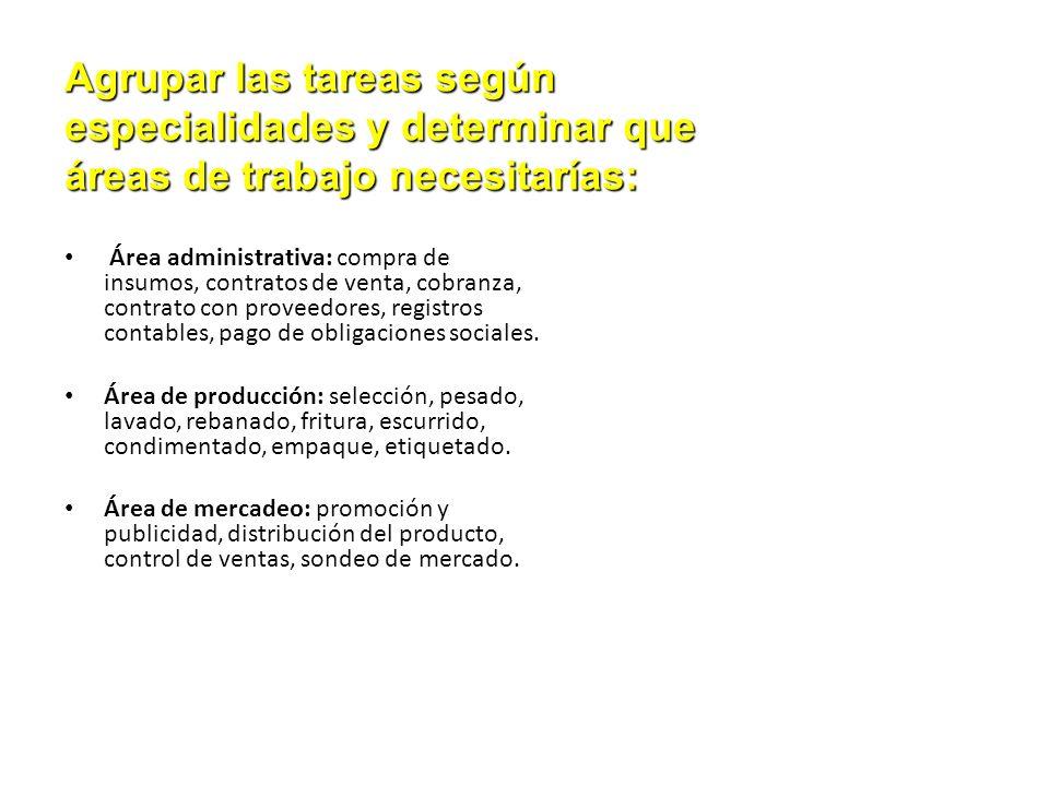 Área administrativa: compra de insumos, contratos de venta, cobranza, contrato con proveedores, registros contables, pago de obligaciones sociales. Ár