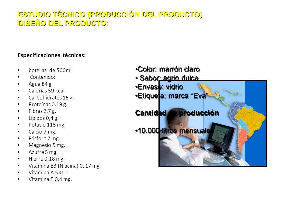 Especificaciones técnicas: botellas de 500ml Contenido: Agua 84 g. Calorías 59 kcal. Carbohidratos 15 g. Proteínas 0.19 g. Fibras 2.7 g. Lípidos 0,4 g