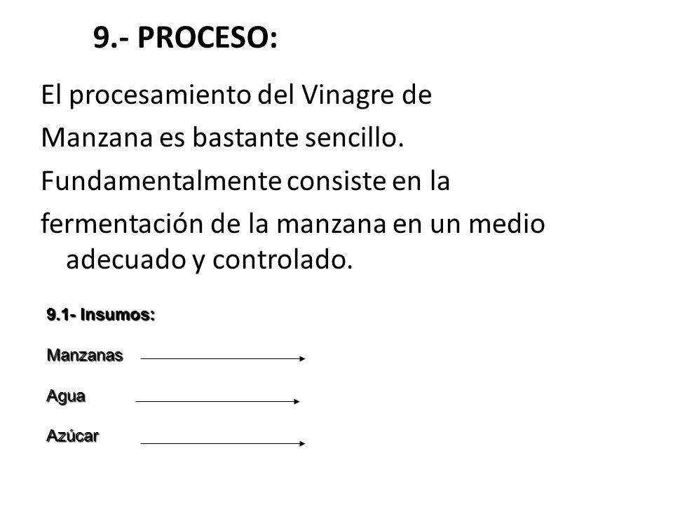 9.- PROCESO: El procesamiento del Vinagre de Manzana es bastante sencillo. Fundamentalmente consiste en la fermentación de la manzana en un medio adec