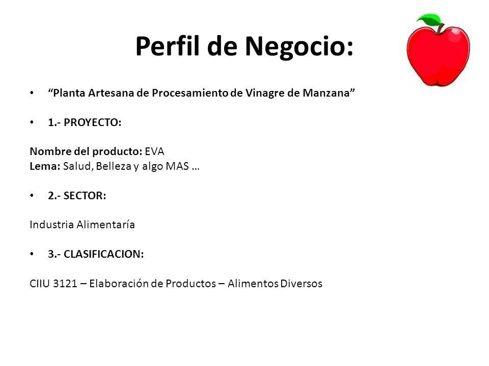 Perfil de Negocio: Planta Artesana de Procesamiento de Vinagre de Manzana 1.- PROYECTO: Nombre del producto: EVA Lema: Salud, Belleza y algo MAS … 2.-
