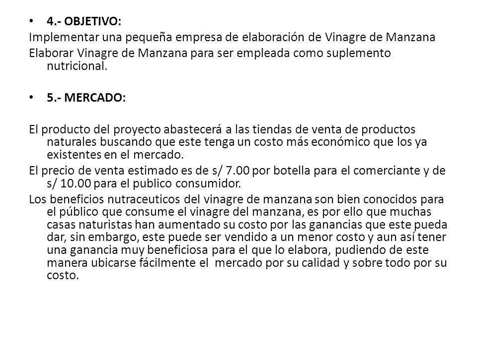 4.- OBJETIVO: Implementar una pequeña empresa de elaboración de Vinagre de Manzana Elaborar Vinagre de Manzana para ser empleada como suplemento nutri