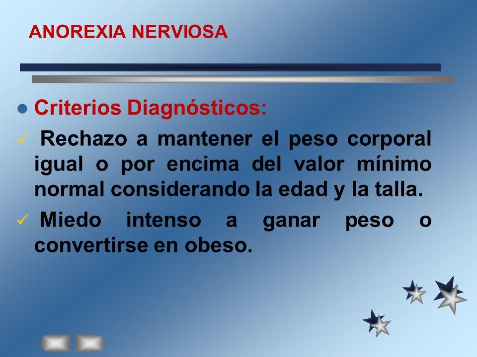 ANOREXIA NERVIOSA Criterios Diagnósticos: Rechazo a mantener el peso corporal igual o por encima del valor mínimo normal considerando la edad y la tal