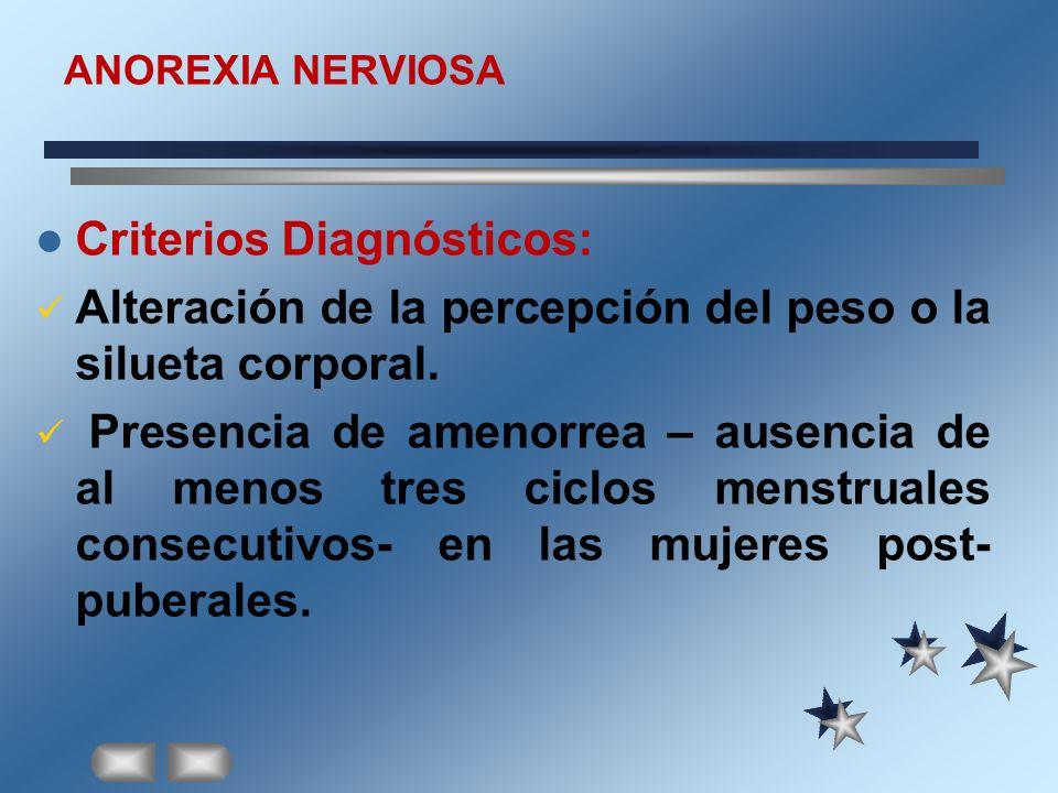 ANOREXIA NERVIOSA Criterios Diagnósticos: Alteración de la percepción del peso o la silueta corporal. Presencia de amenorrea – ausencia de al menos tr