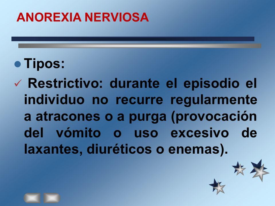 ANOREXIA NERVIOSA Tipos: Restrictivo: durante el episodio el individuo no recurre regularmente a atracones o a purga (provocación del vómito o uso exc