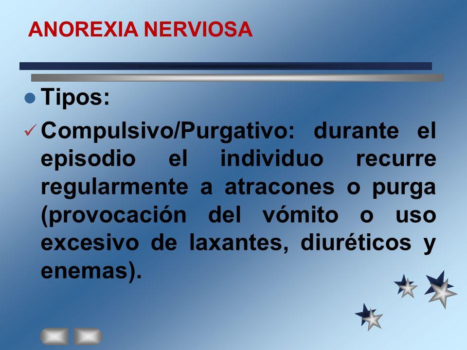 ANOREXIA NERVIOSA Tipos: Compulsivo/Purgativo: durante el episodio el individuo recurre regularmente a atracones o purga (provocación del vómito o uso