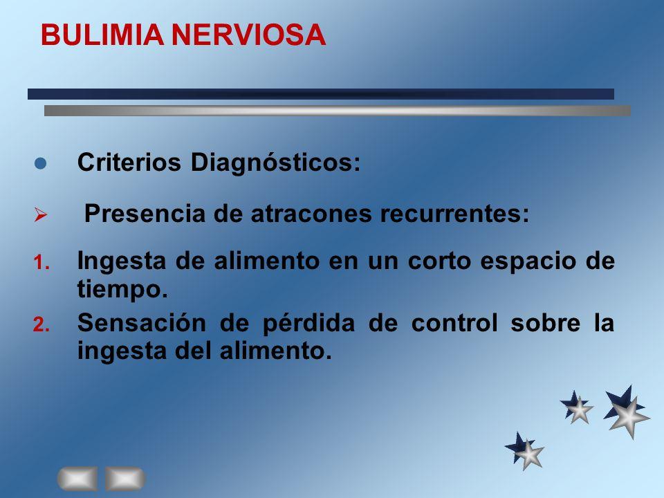 BULIMIA NERVIOSA Criterios Diagnósticos: Presencia de atracones recurrentes: 1. Ingesta de alimento en un corto espacio de tiempo. 2. Sensación de pér