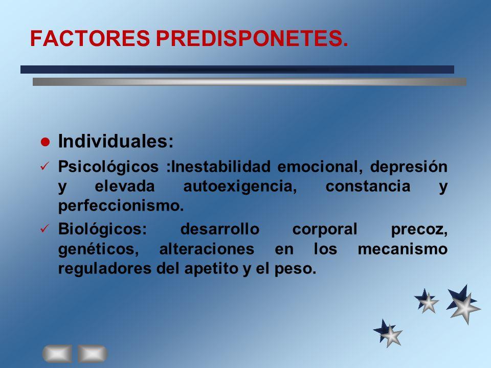 FACTORES PREDISPONETES. Individuales: Psicológicos :Inestabilidad emocional, depresión y elevada autoexigencia, constancia y perfeccionismo. Biológico