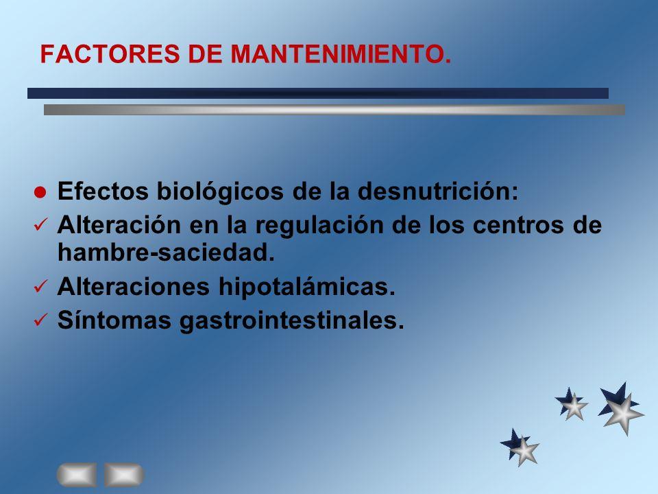 FACTORES DE MANTENIMIENTO. Efectos biológicos de la desnutrición: Alteración en la regulación de los centros de hambre-saciedad. Alteraciones hipotalá