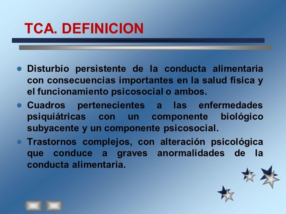TCA. DEFINICION Disturbio persistente de la conducta alimentaria con consecuencias importantes en la salud física y el funcionamiento psicosocial o am