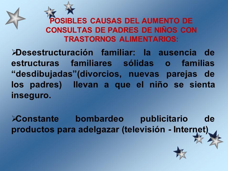 Desestructuración familiar: la ausencia de estructuras familiares sólidas o familias desdibujadas(divorcios, nuevas parejas de los padres) llevan a qu