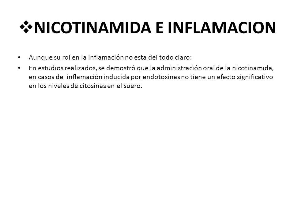 NICOTINAMIDA E INFLAMACION Aunque su rol en la inflamación no esta del todo claro: En estudios realizados, se demostró que la administración oral de l