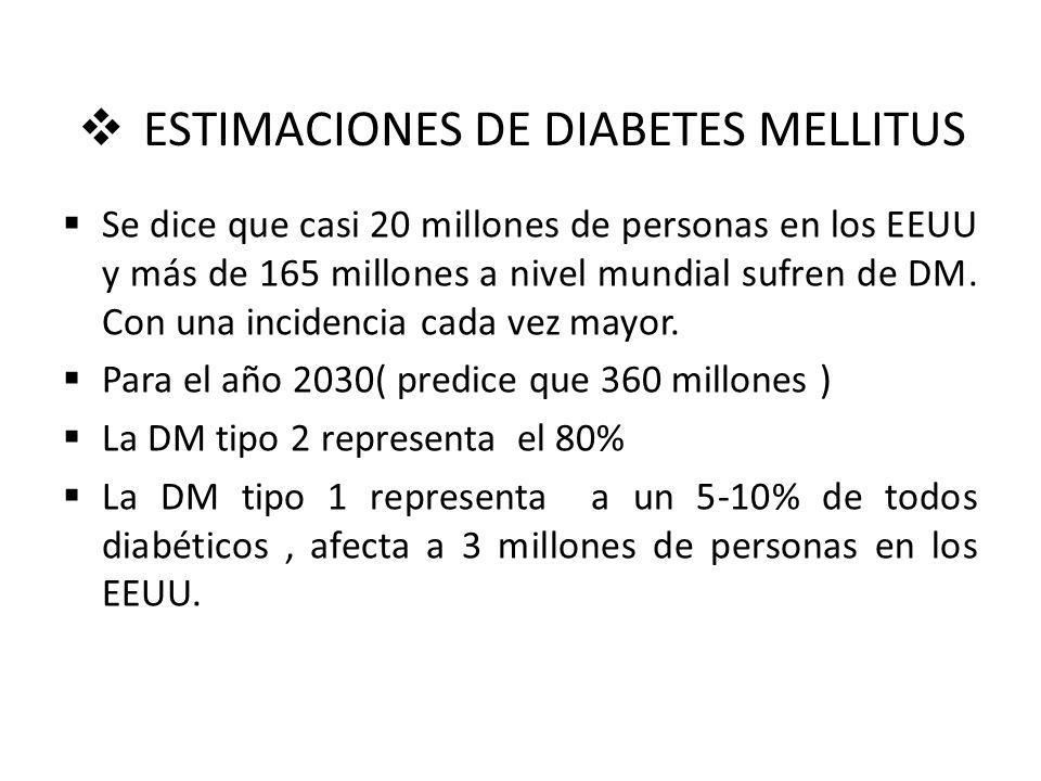 ESTIMACIONES DE DIABETES MELLITUS Se dice que casi 20 millones de personas en los EEUU y más de 165 millones a nivel mundial sufren de DM. Con una inc