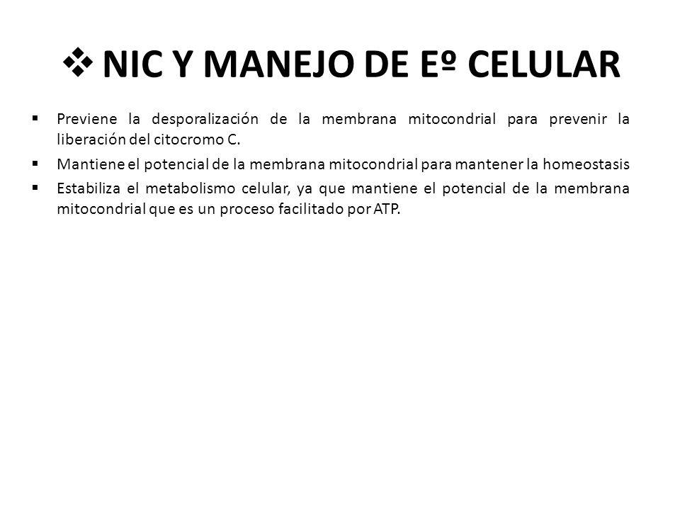 NIC Y MANEJO DE Eº CELULAR Previene la desporalización de la membrana mitocondrial para prevenir la liberación del citocromo C. Mantiene el potencial