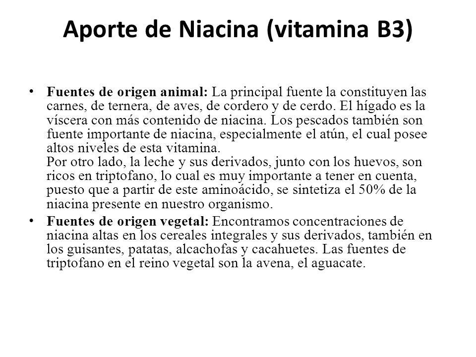 Aporte de Niacina (vitamina B3) Fuentes de origen animal: La principal fuente la constituyen las carnes, de ternera, de aves, de cordero y de cerdo. E