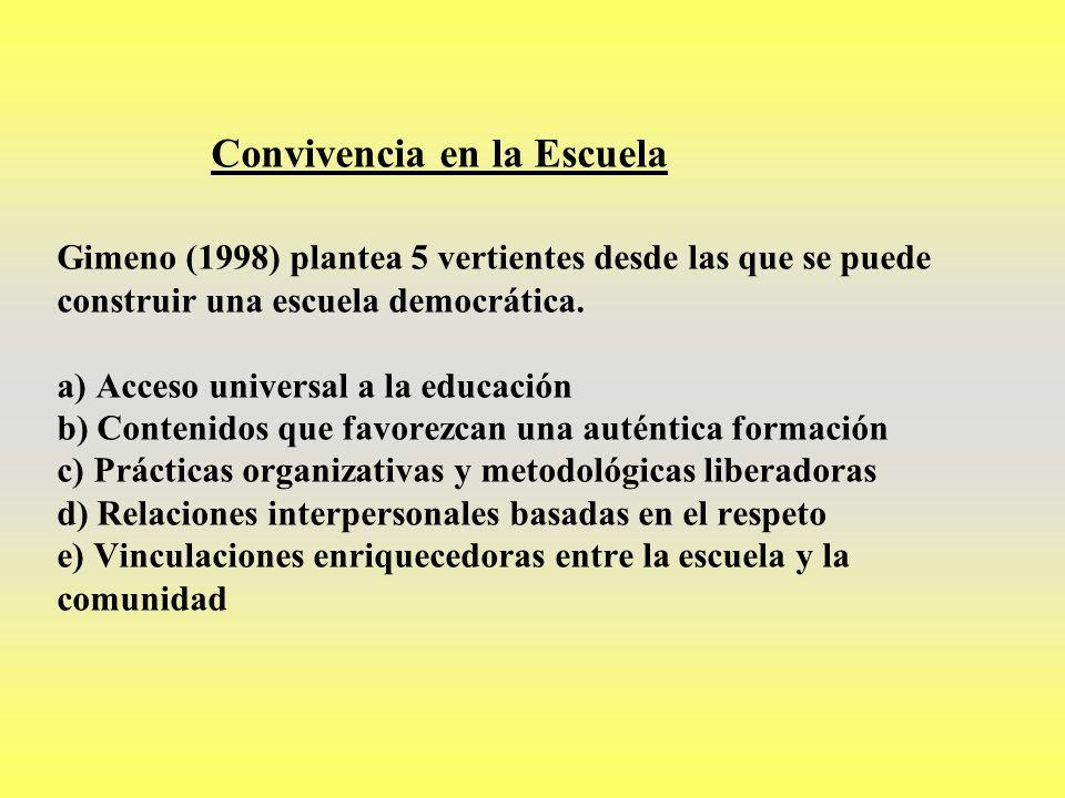 Convivencia en la Escuela Gimeno (1998) plantea 5 vertientes desde las que se puede construir una escuela democrática. a) Acceso universal a la educac