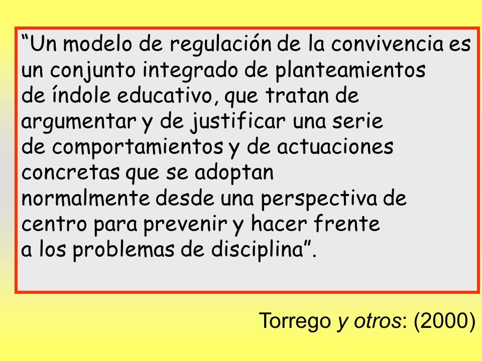 Torrego y otros: (2000) Un modelo de regulación de la convivencia es un conjunto integrado de planteamientos de índole educativo, que tratan de argume