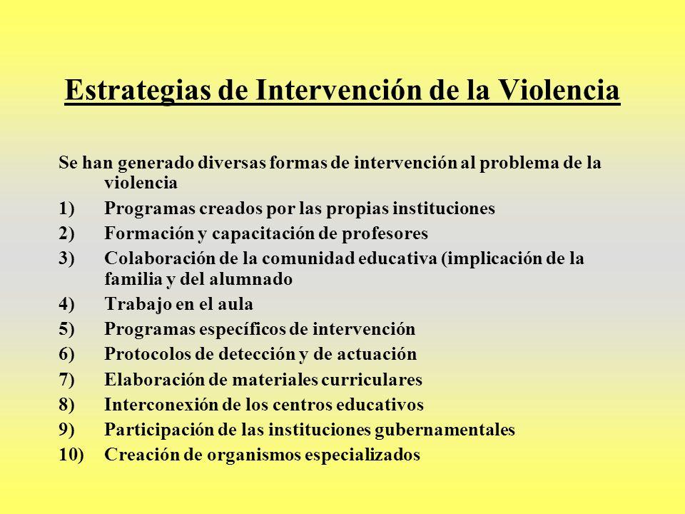 Estrategias de Intervención de la Violencia Se han generado diversas formas de intervención al problema de la violencia 1)Programas creados por las pr
