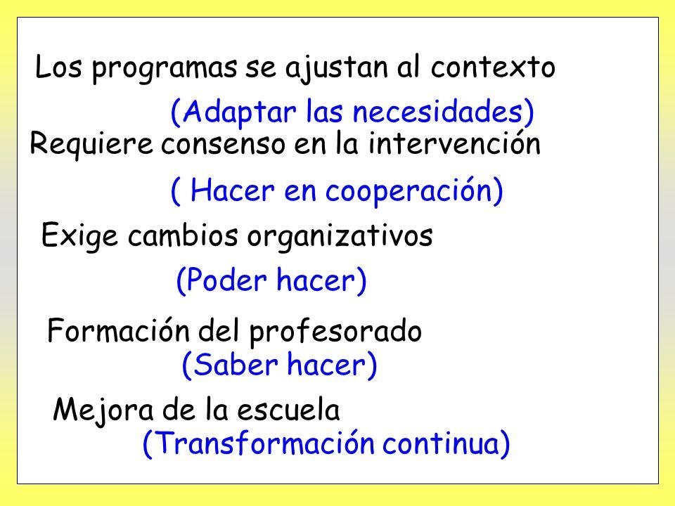 Los programas se ajustan al contexto (Adaptar las necesidades) Requiere consenso en la intervención ( Hacer en cooperación) Exige cambios organizativo