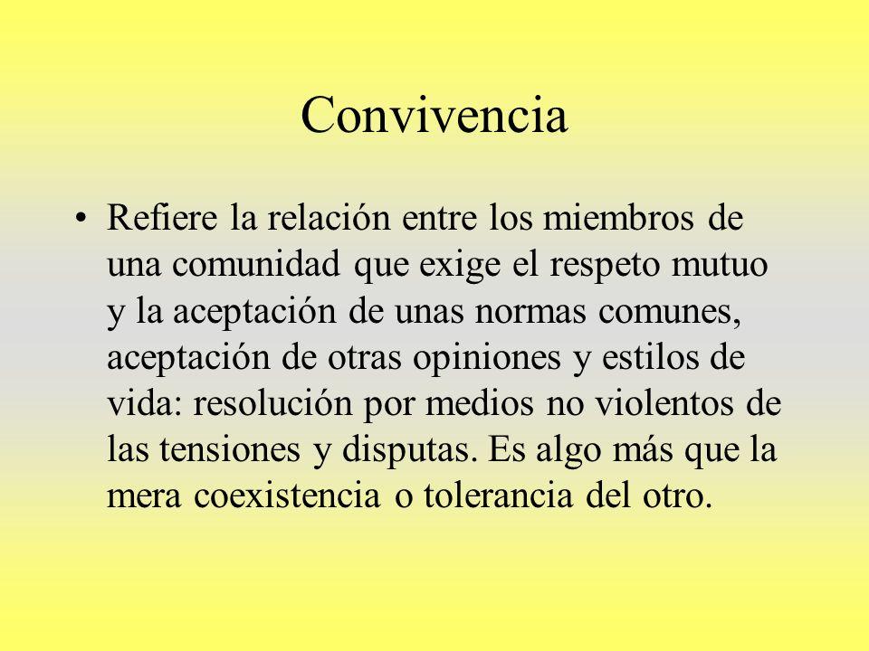 Convivencia Refiere la relación entre los miembros de una comunidad que exige el respeto mutuo y la aceptación de unas normas comunes, aceptación de o