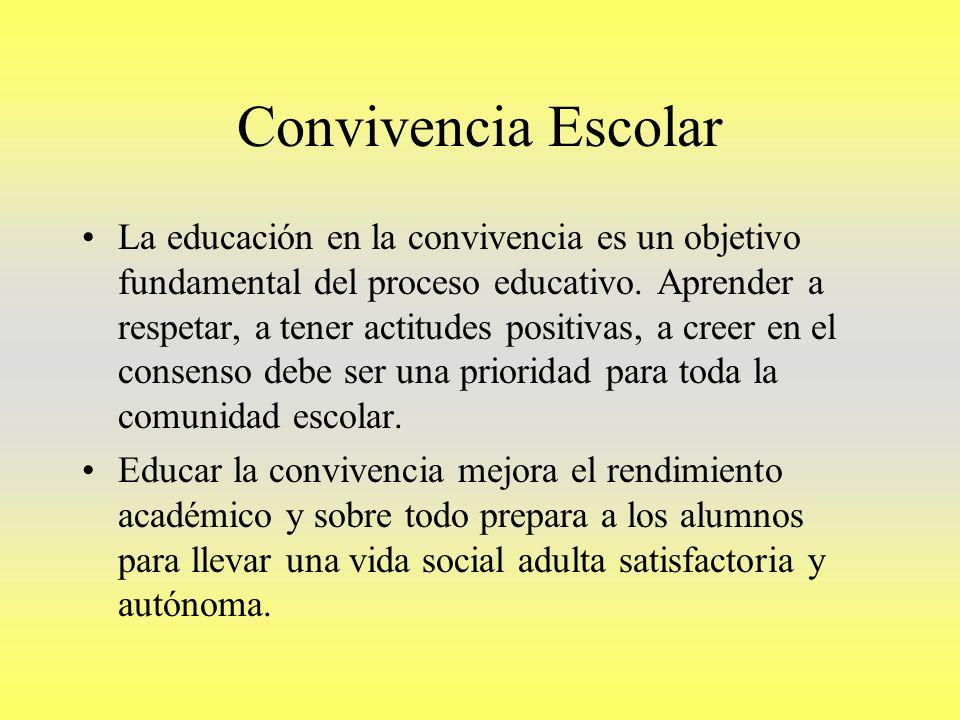 Convivencia Escolar La educación en la convivencia es un objetivo fundamental del proceso educativo. Aprender a respetar, a tener actitudes positivas,