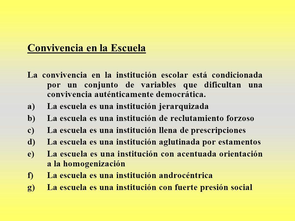 Convivencia en la Escuela La convivencia en la institución escolar está condicionada por un conjunto de variables que dificultan una convivencia autén