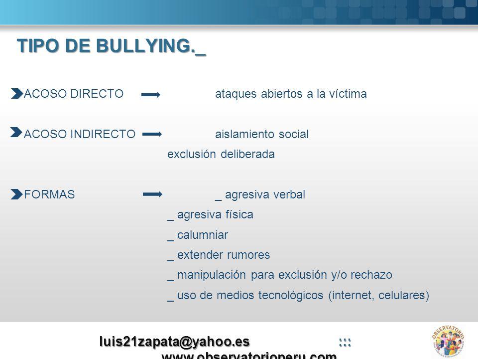 TIPO DE BULLYING._ ACOSO DIRECTOataques abiertos a la víctima ACOSO INDIRECTOaislamiento social exclusión deliberada FORMAS_ agresiva verbal _ agresiv
