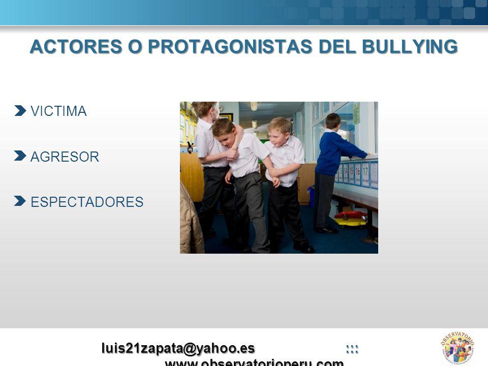 ACTORES O PROTAGONISTAS DEL BULLYING VICTIMA AGRESOR ESPECTADORES luis21zapata@yahoo.es::: www.observatorioperu.com